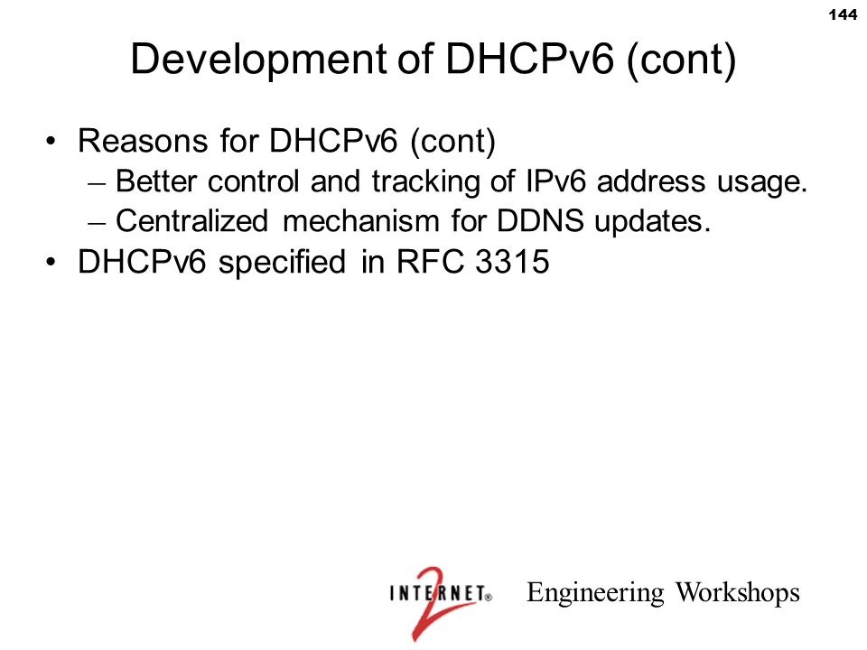 Development of DHCPv6 (cont)