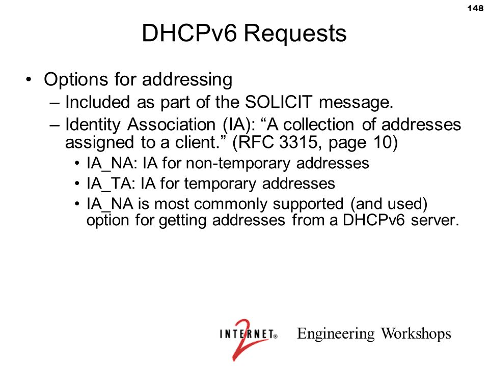 DHCPv6 Requests Options for addressing