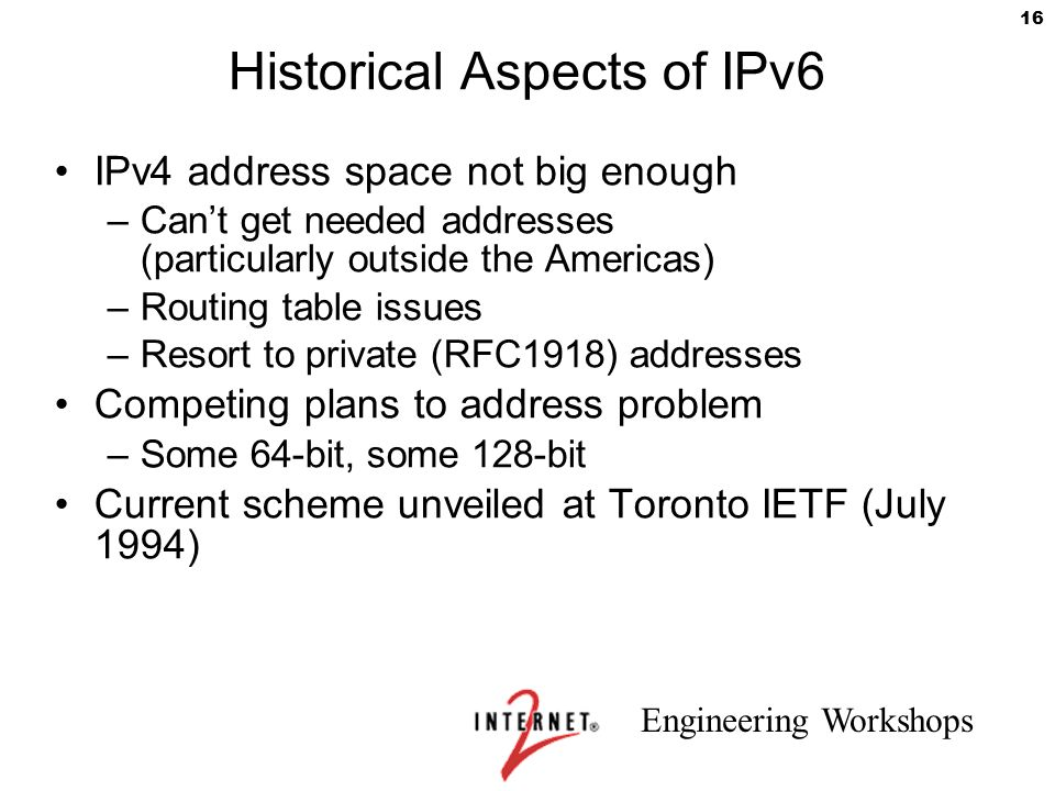 Historical Aspects of IPv6