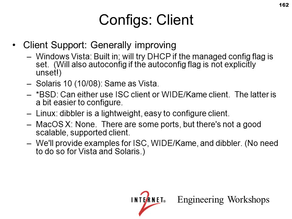 Configs: Client Client Support: Generally improving