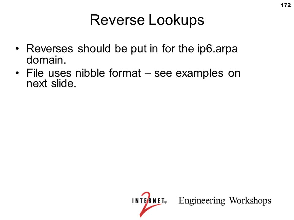 Reverse Lookups Reverses should be put in for the ip6.arpa domain.