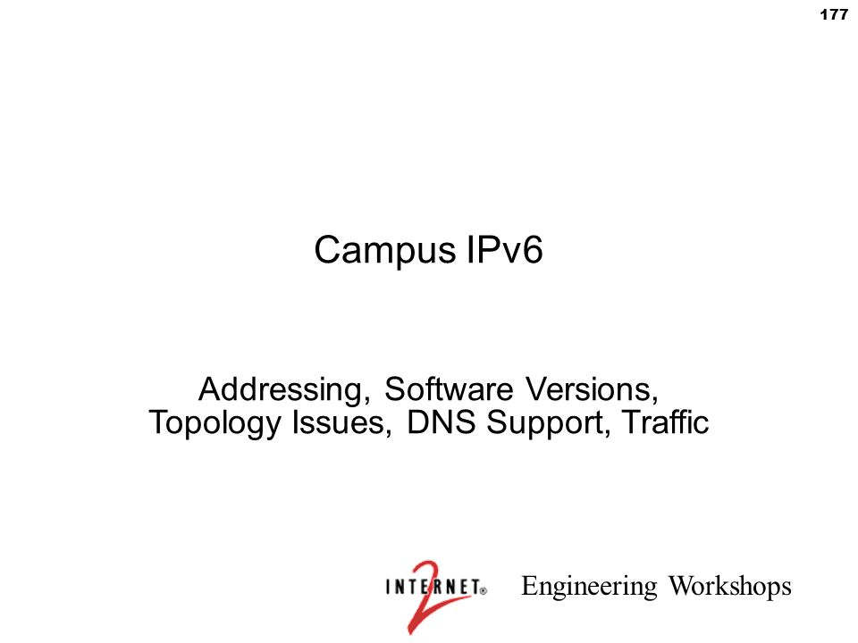 Addressing, Software Versions, Topology Issues, DNS Support, Traffic