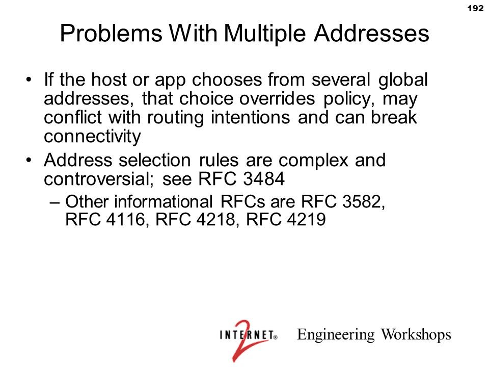 Problems With Multiple Addresses