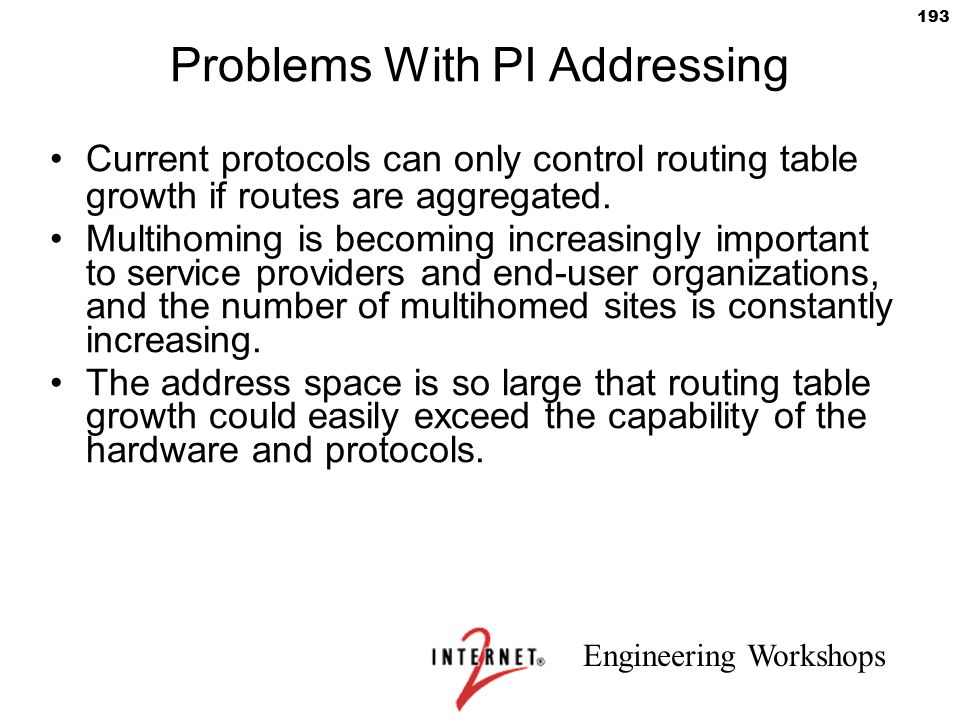 Problems With PI Addressing