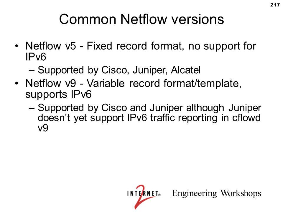 Common Netflow versions