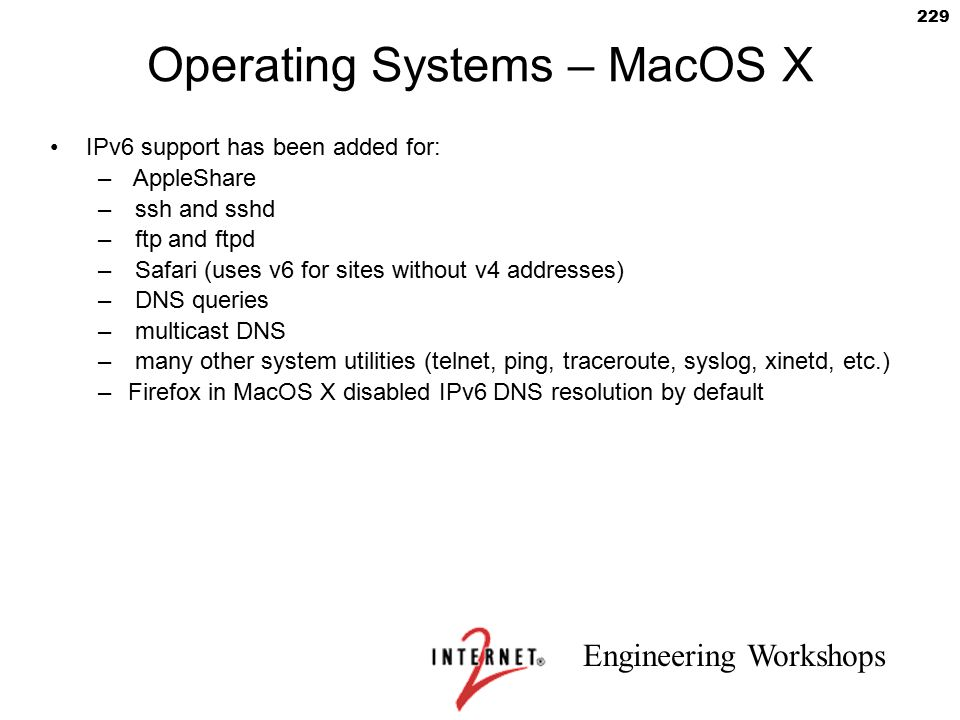 Operating Systems – MacOS X