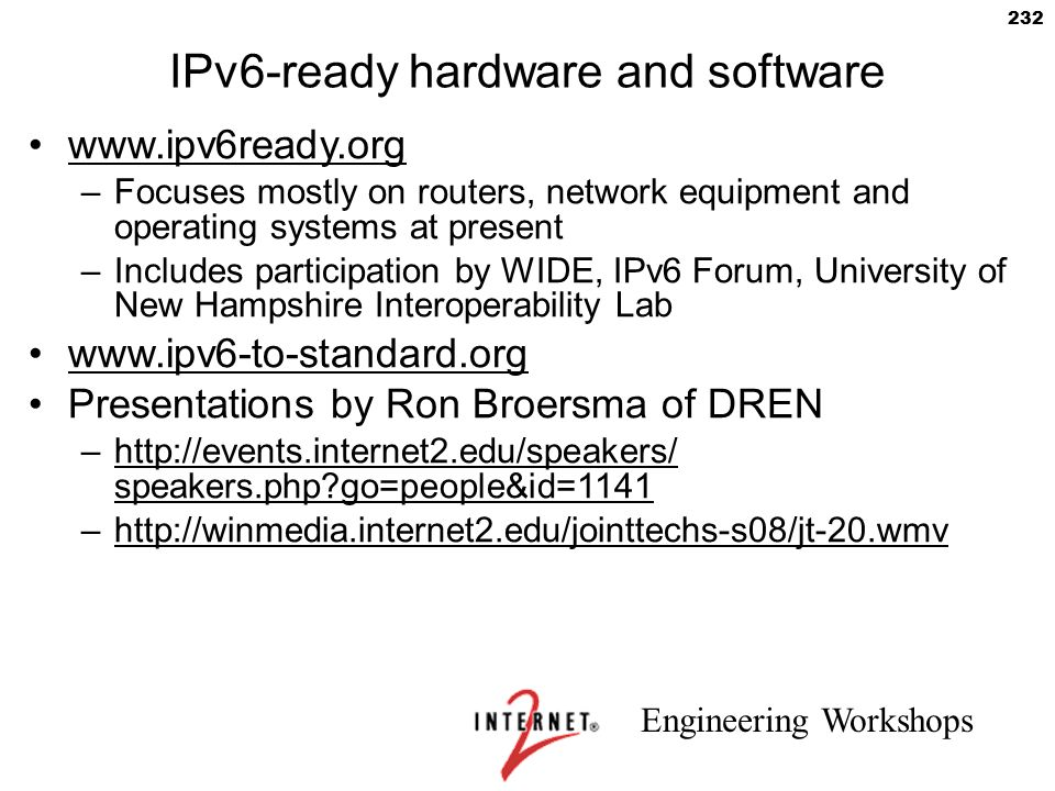 IPv6-ready hardware and software