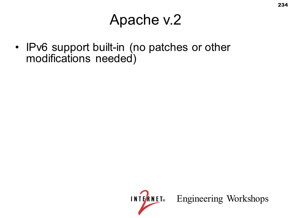 Apache v.2 IPv6 support built-in (no patches or other modifications needed) 234