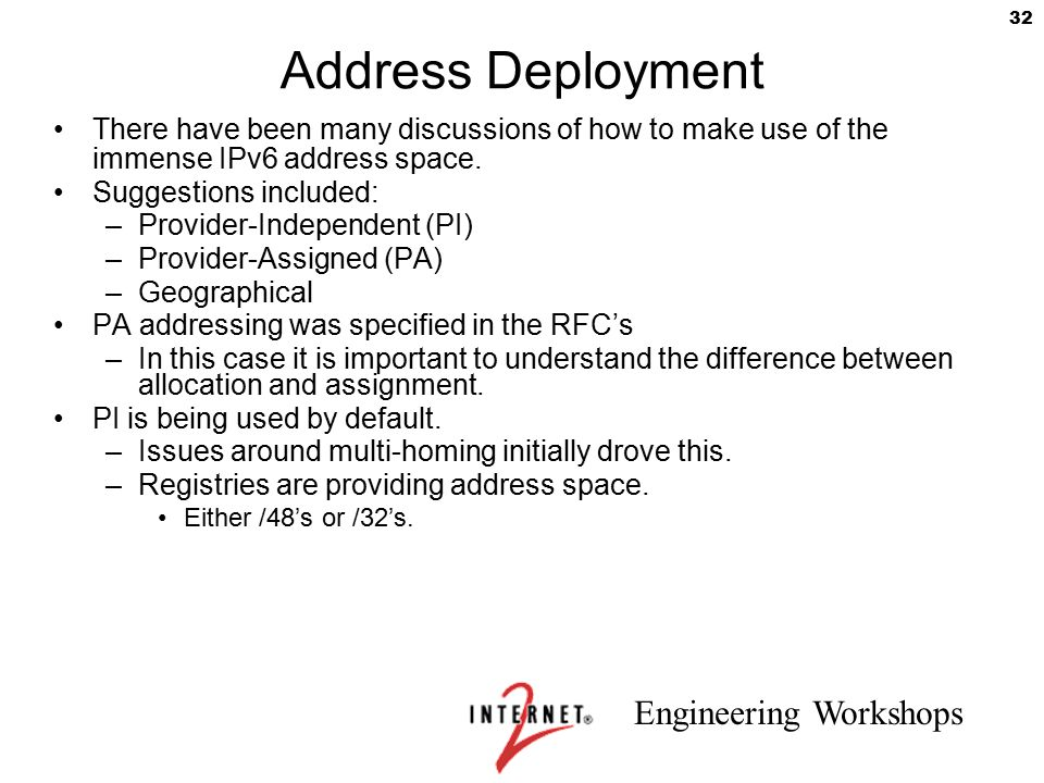Address Deployment There have been many discussions of how to make use of the immense IPv6 address space.