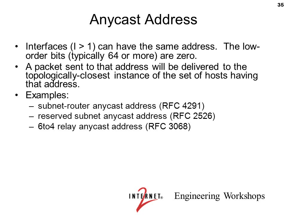 Anycast Address Interfaces (I > 1) can have the same address. The low- order bits (typically 64 or more) are zero.