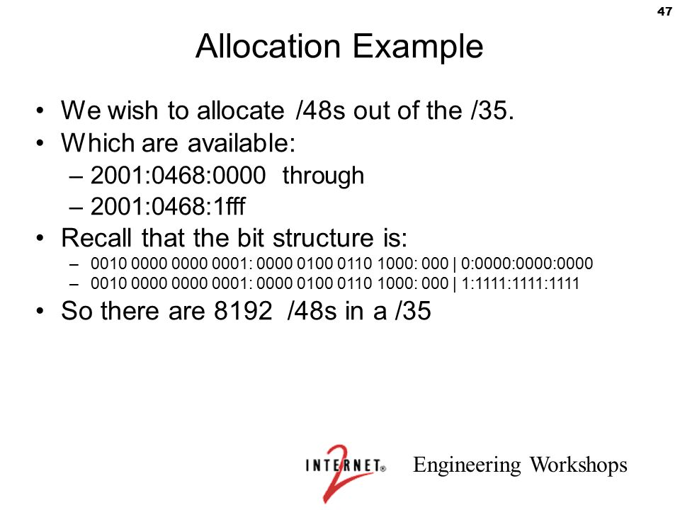 Allocation Example We wish to allocate /48s out of the /35.