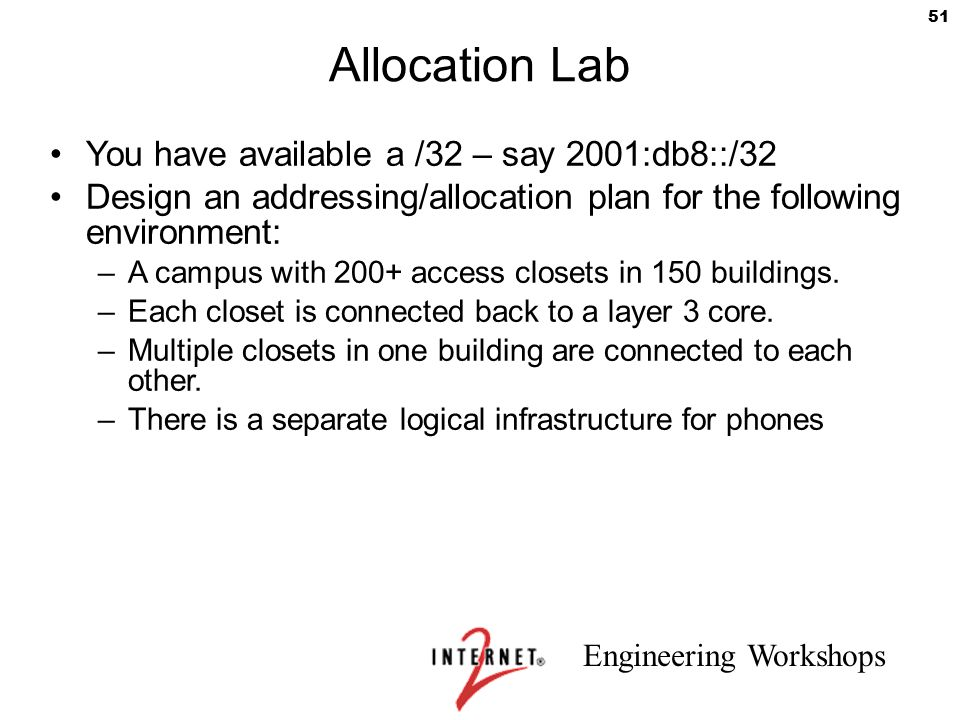 Allocation Lab You have available a /32 – say 2001:db8::/32