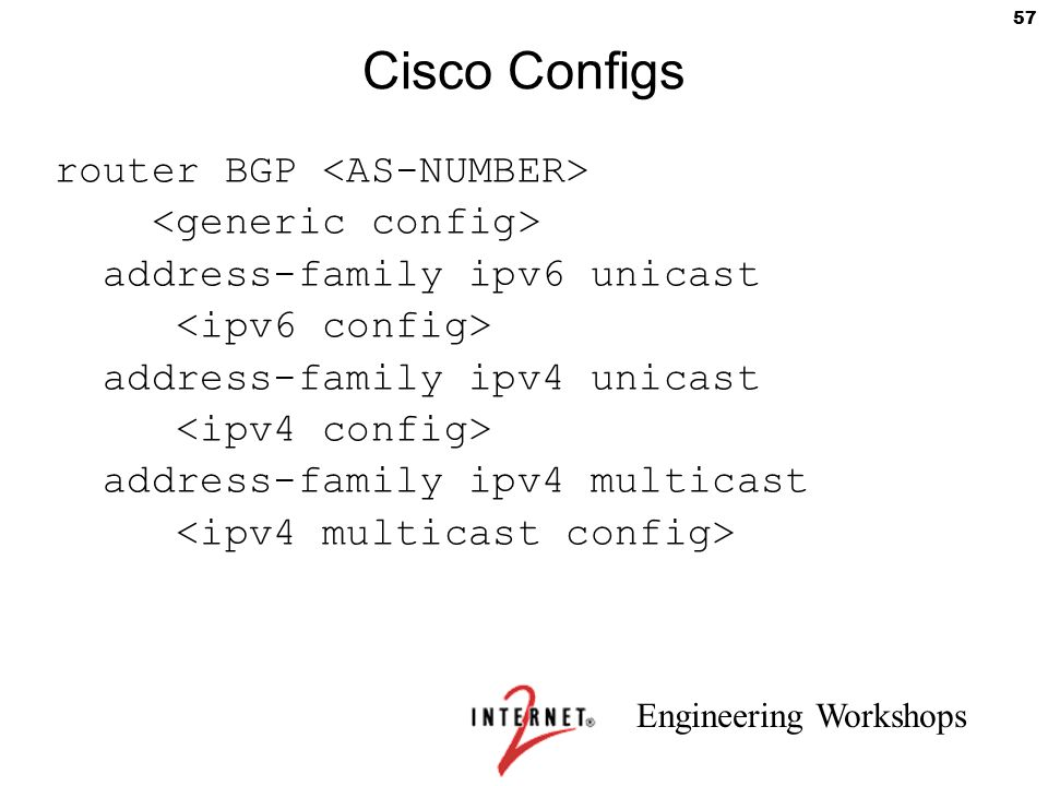 Cisco Configs router BGP <AS-NUMBER> <generic config>