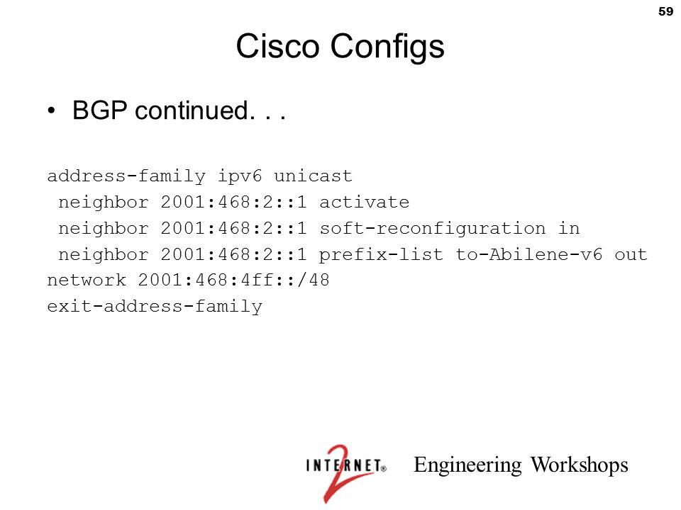 Cisco Configs BGP continued. . . address-family ipv6 unicast