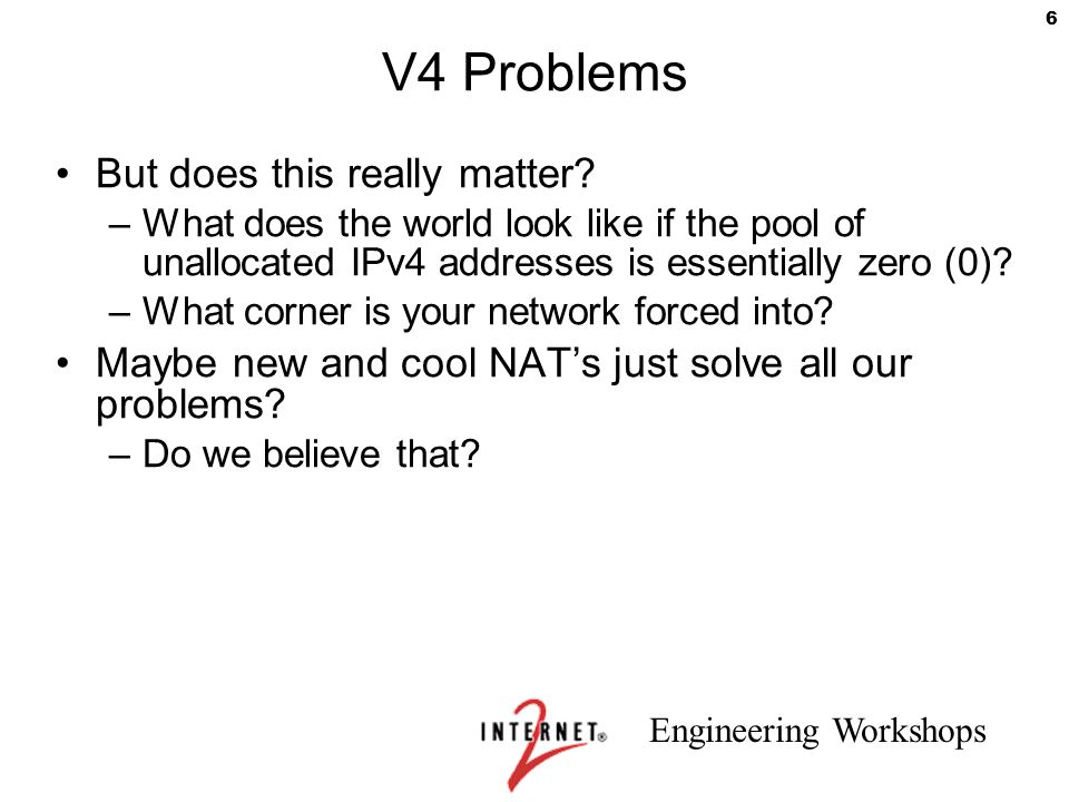 V4 Problems But does this really matter