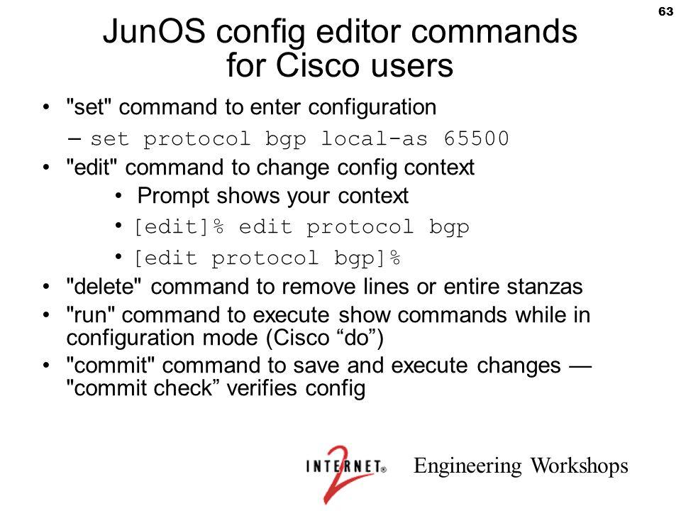 JunOS config editor commands for Cisco users