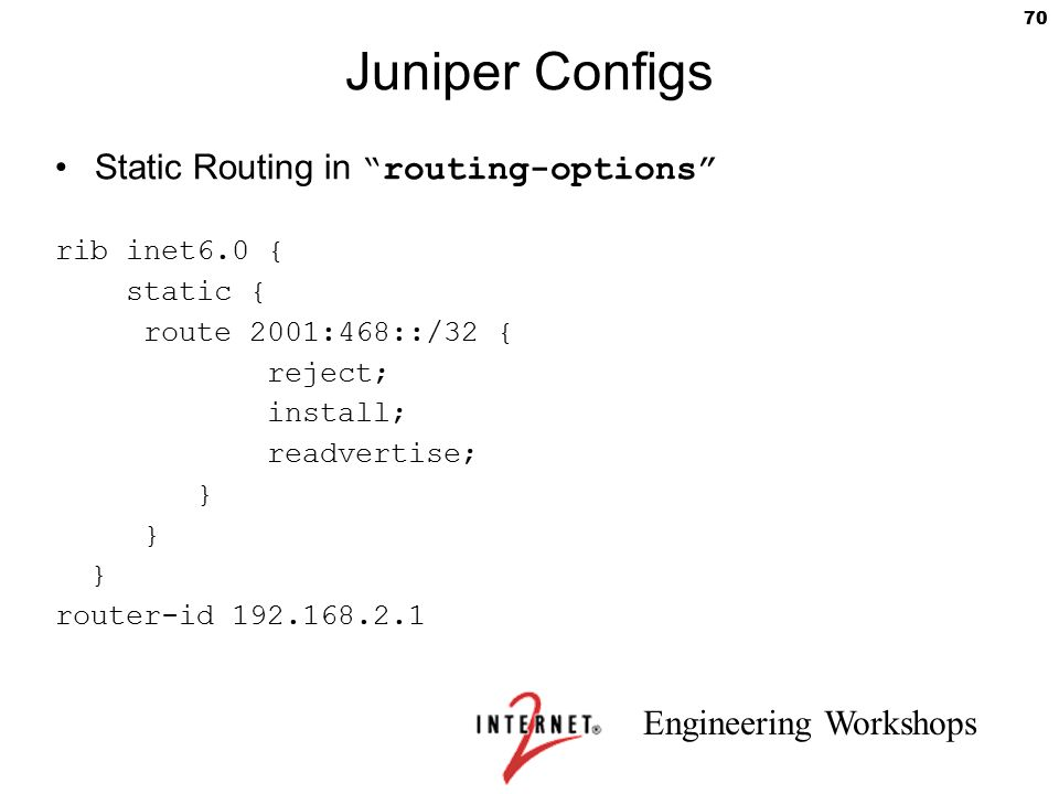 Juniper Configs Static Routing in routing-options rib inet6.0 {