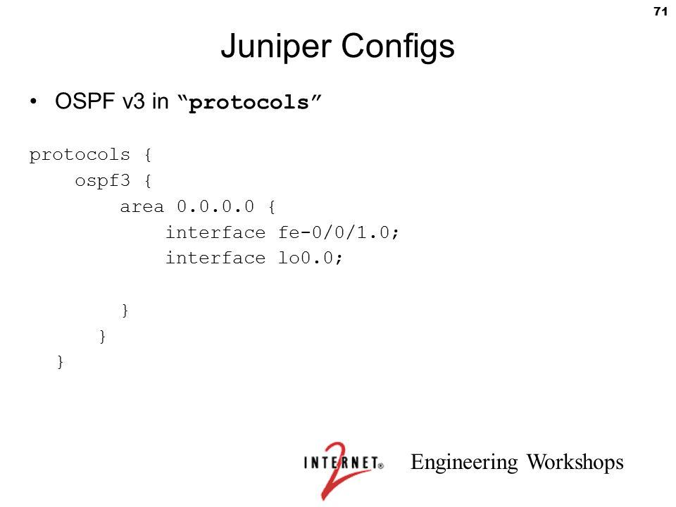Juniper Configs OSPF v3 in protocols protocols { ospf3 {
