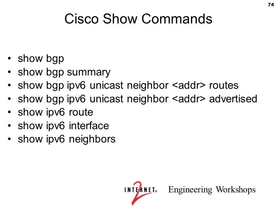 Cisco Show Commands show bgp show bgp summary
