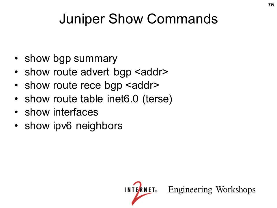 Juniper Show Commands show bgp summary