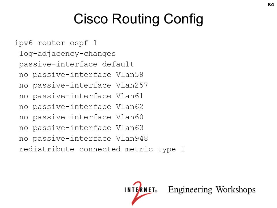 Cisco Routing Config ipv6 router ospf 1 log-adjacency-changes