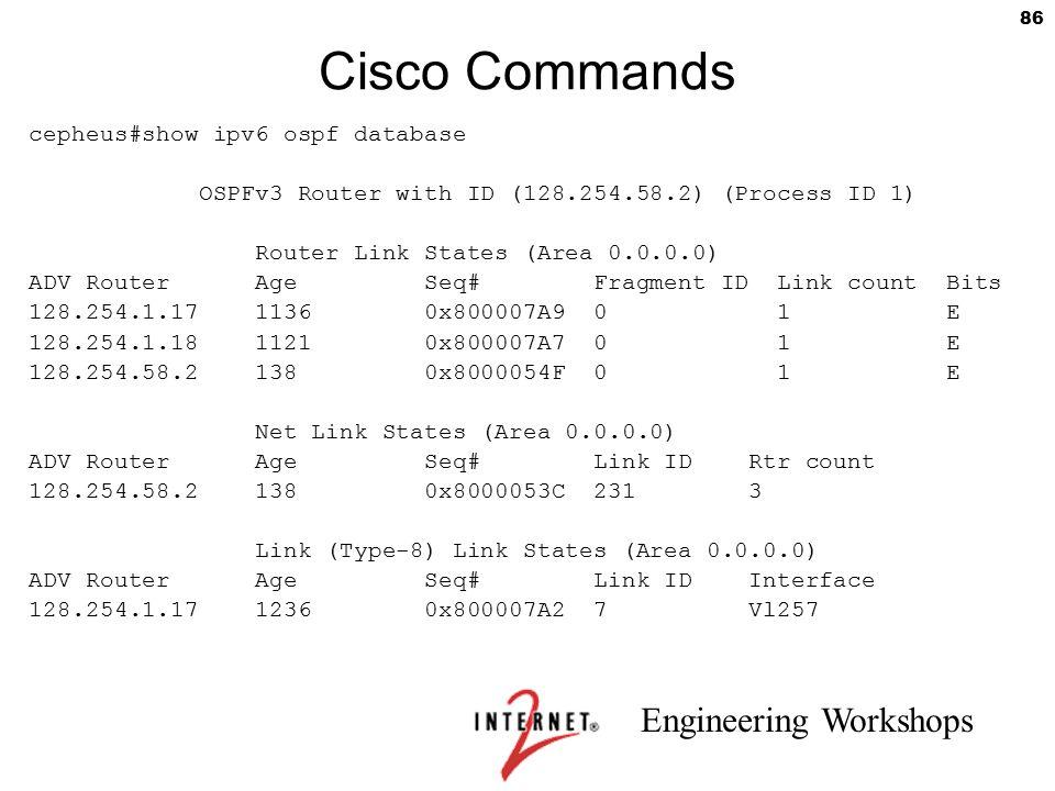 Cisco Commands cepheus#show ipv6 ospf database