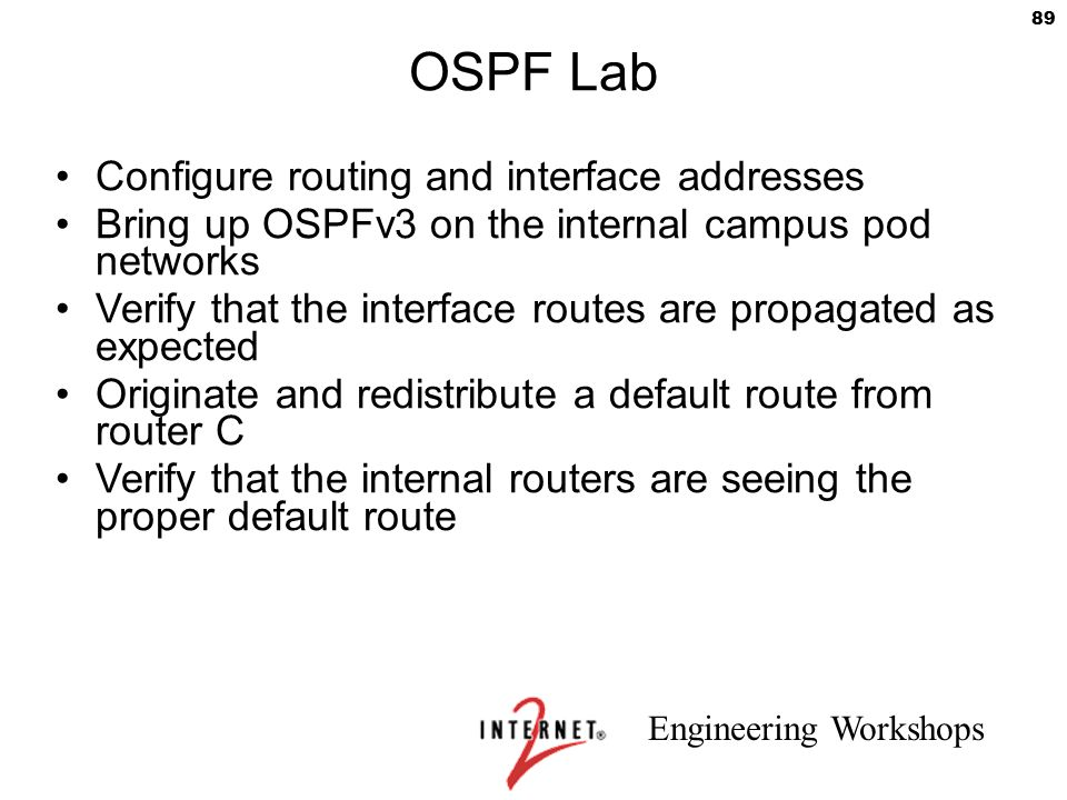 OSPF Lab Configure routing and interface addresses