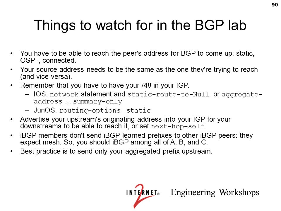 Things to watch for in the BGP lab