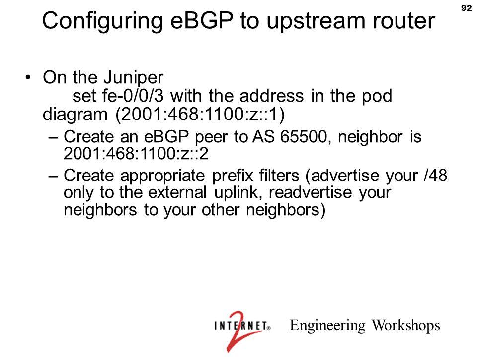 Configuring eBGP to upstream router