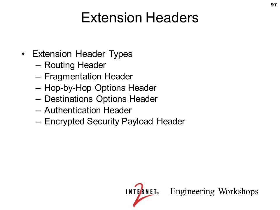 Extension Headers Extension Header Types Routing Header