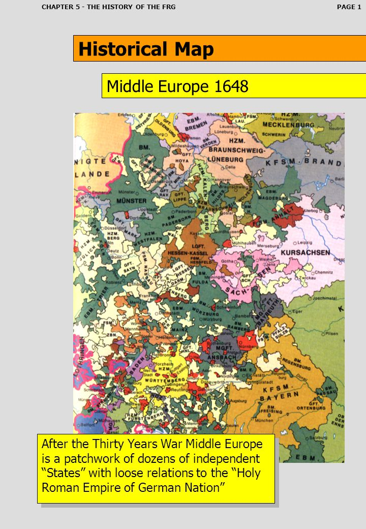 Historical Map Middle Europe 1648