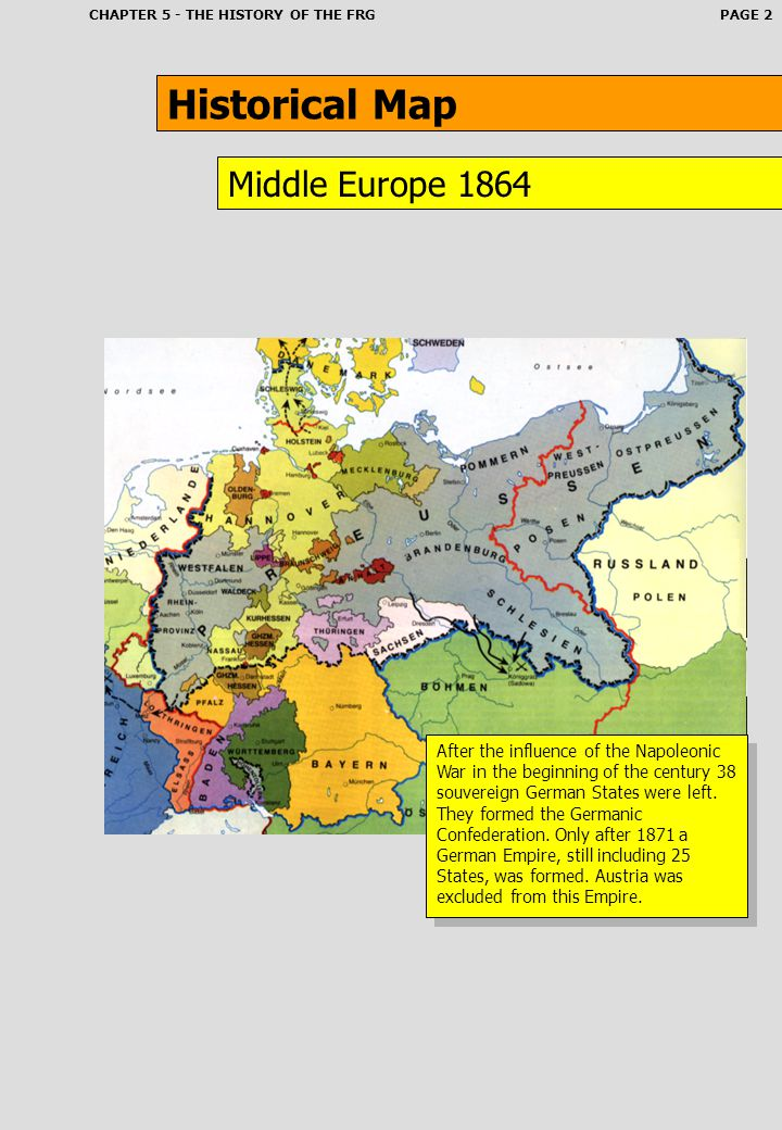 Historical Map Middle Europe 1864