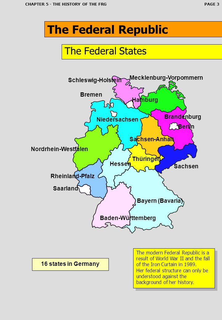 The Federal Republic The Federal States Mecklenburg-Vorpommern