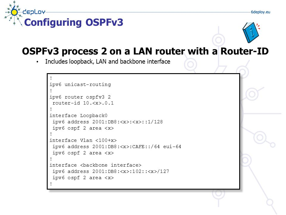 Configuring OSPFv3 OSPFv3 process 2 on a LAN router with a Router-ID