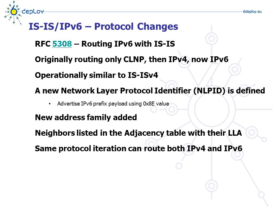 IS-IS/IPv6 – Protocol Changes