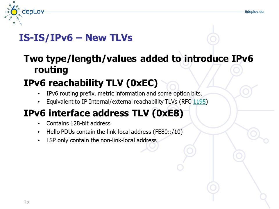 IS-IS/IPv6 – New TLVs Two type/length/values added to introduce IPv6 routing. IPv6 reachability TLV (0xEC)