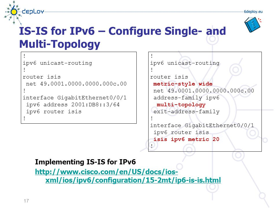IS-IS for IPv6 – Configure Single- and Multi-Topology