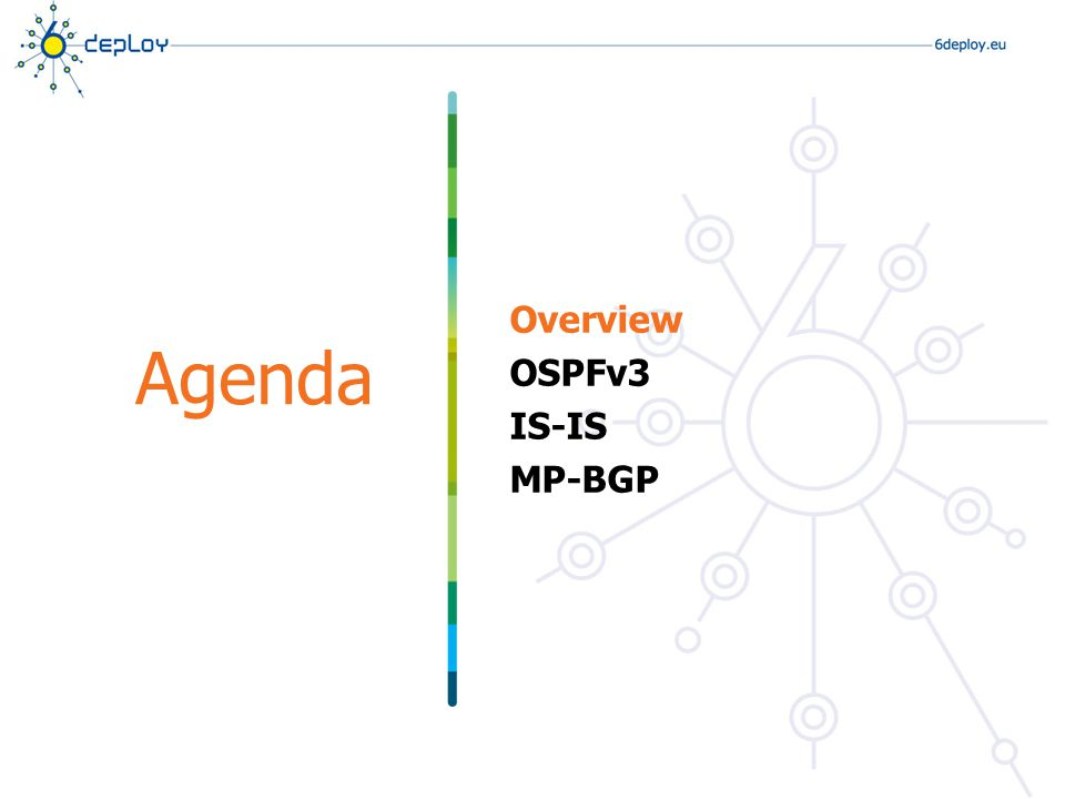 Overview OSPFv3 IS-IS MP-BGP Agenda
