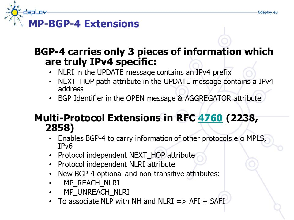 MP-BGP-4 Extensions BGP-4 carries only 3 pieces of information which are truly IPv4 specific: NLRI in the UPDATE message contains an IPv4 prefix.