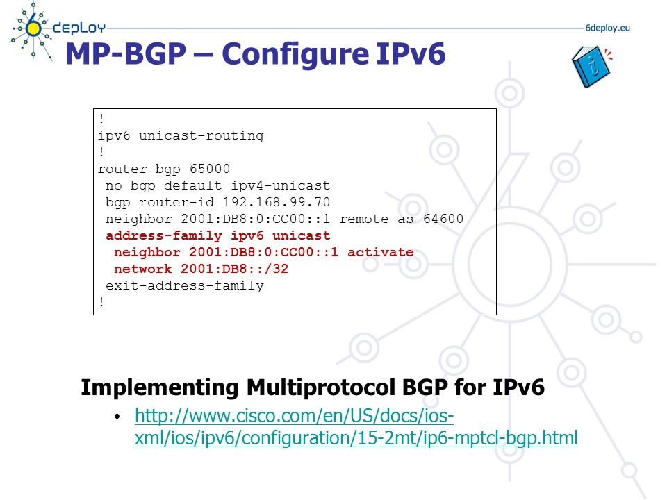 MP-BGP – Configure IPv6 Implementing Multiprotocol BGP for IPv6