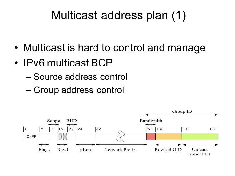 Multicast address plan (1)
