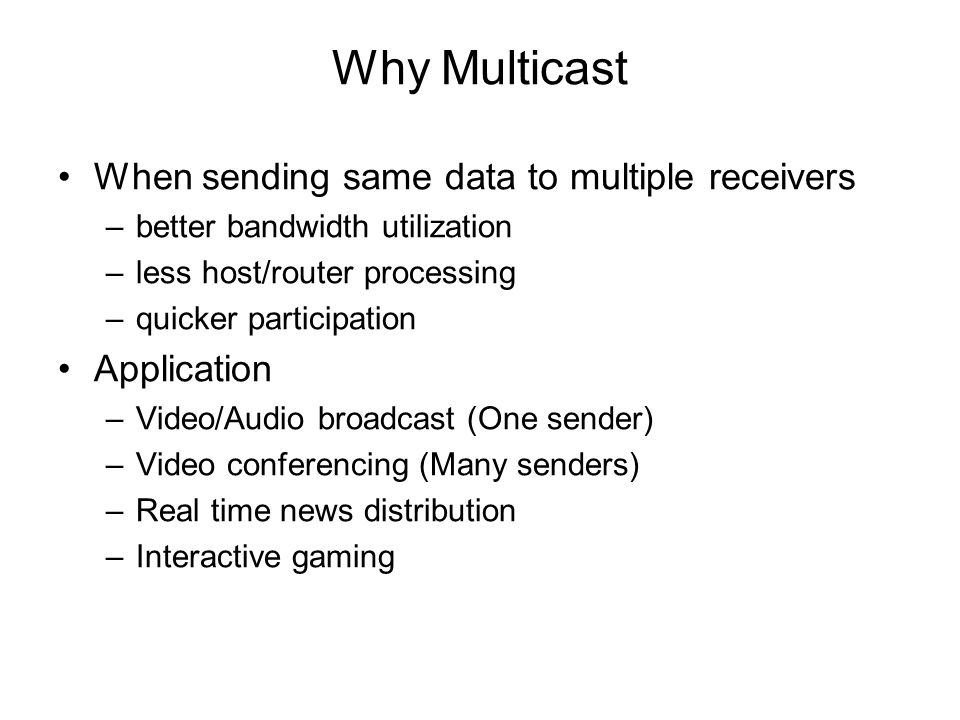 Why Multicast When sending same data to multiple receivers Application