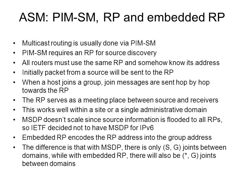 ASM: PIM-SM, RP and embedded RP