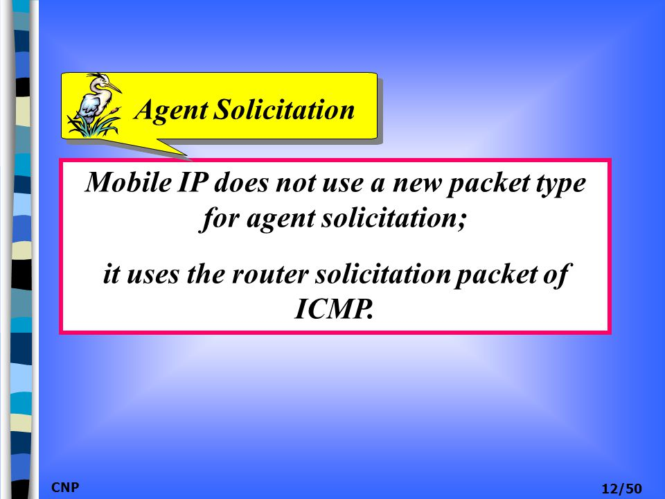Mobile IP does not use a new packet type for agent solicitation;