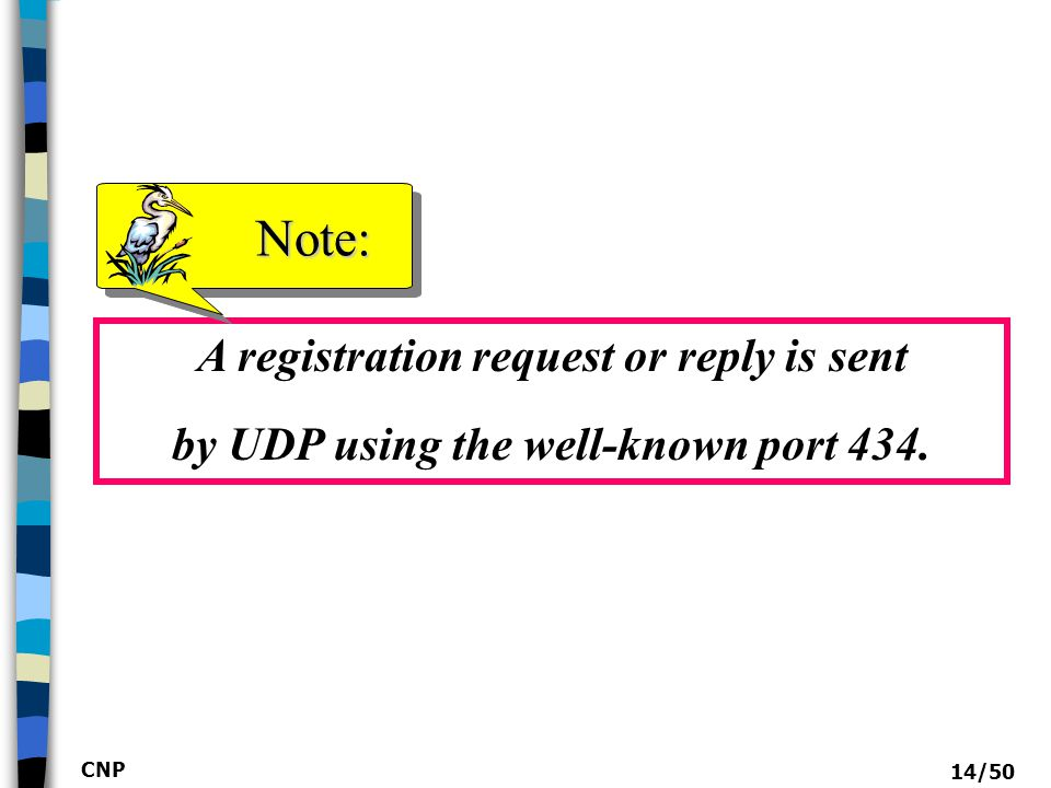 Note: A registration request or reply is sent