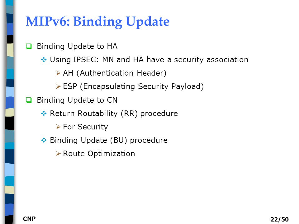 MIPv6: Binding Update Binding Update to HA
