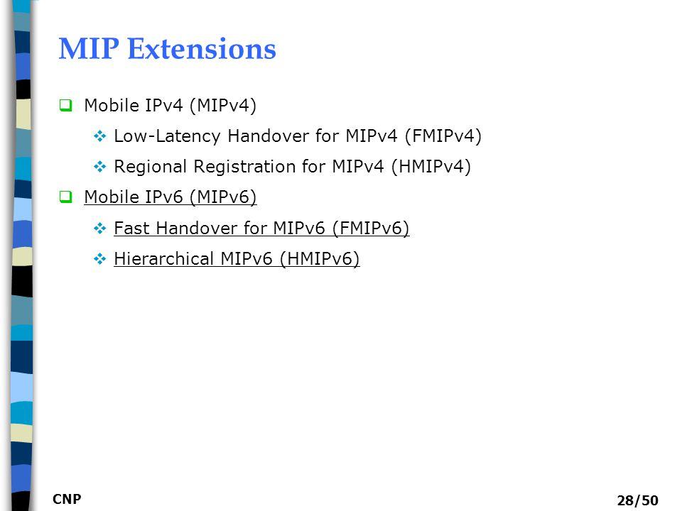 MIP Extensions Mobile IPv4 (MIPv4)