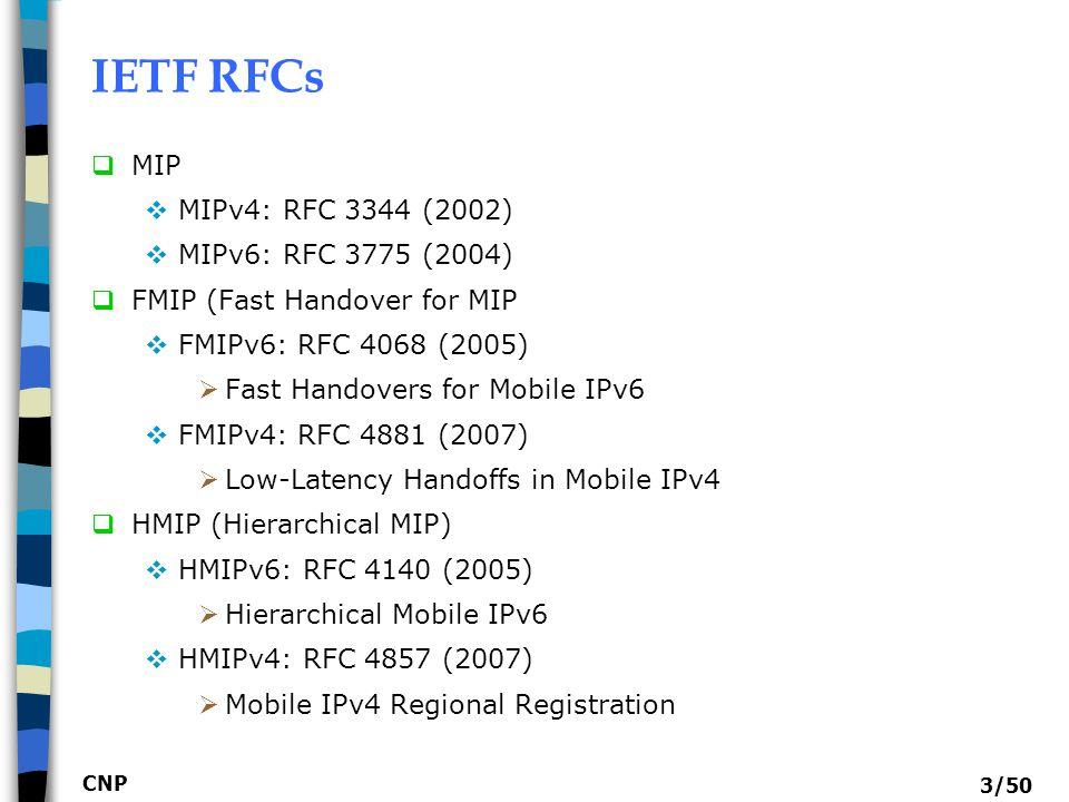 IETF RFCs MIP MIPv4: RFC 3344 (2002) MIPv6: RFC 3775 (2004)