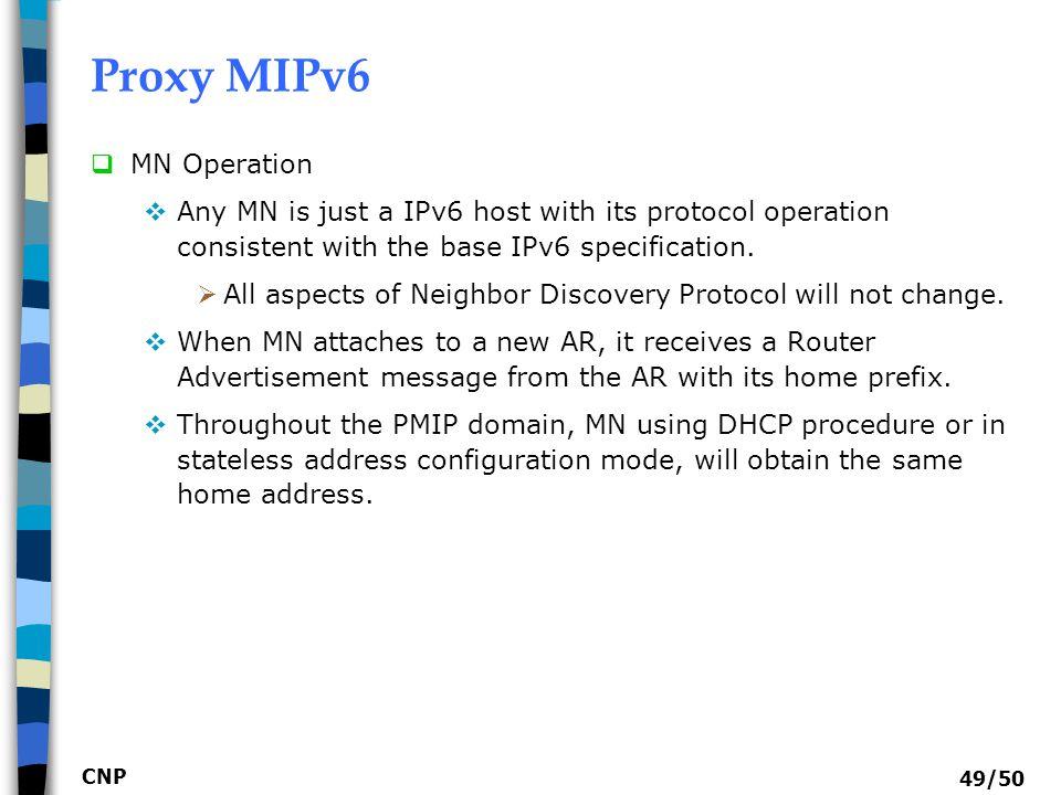 Proxy MIPv6 MN Operation