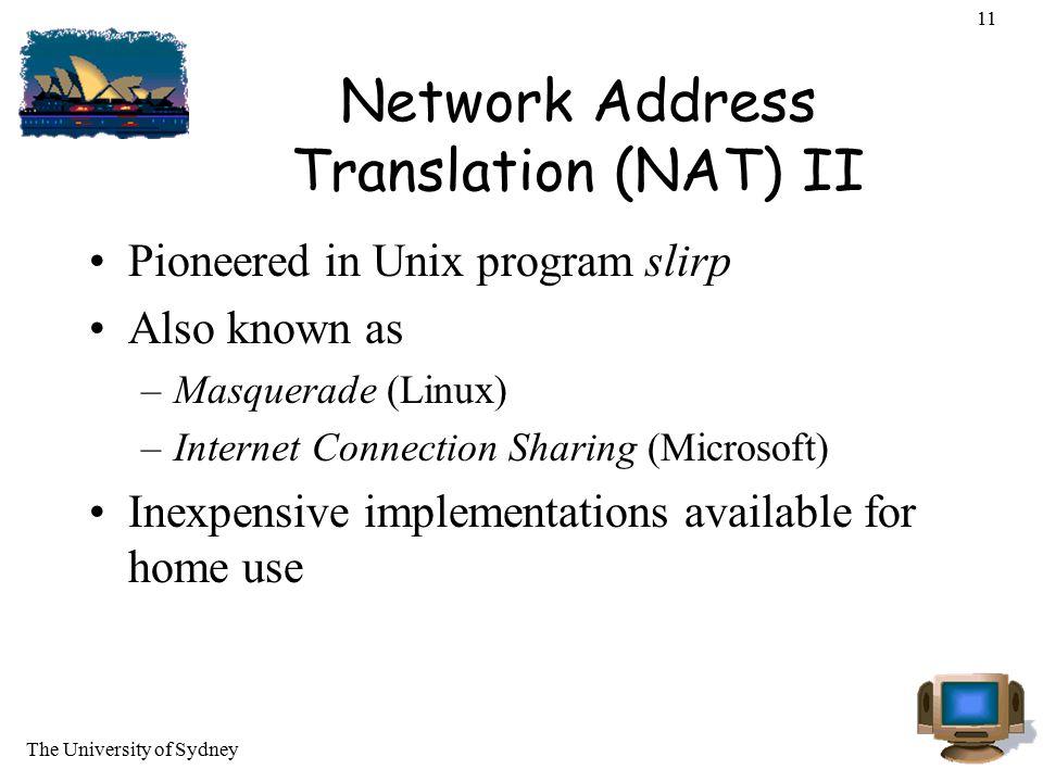 Network Address Translation (NAT) II